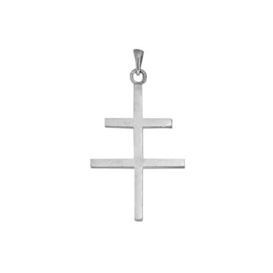 Croix de Lorraine Or 18 carats gris - 54 MM - La Petite Française