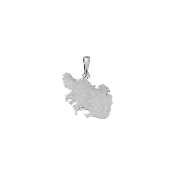 Pendentif carte Morbihan Or 18 carats gris - 20 MM - La Petite Française