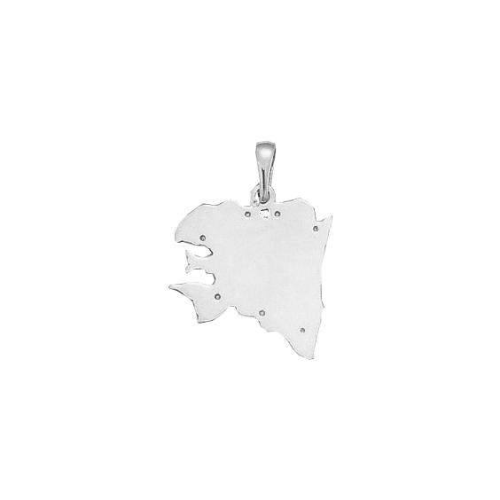 Pendentif carte Bretagne Ancestrale Or 18 carats gris - 29 MM - La Petite Française
