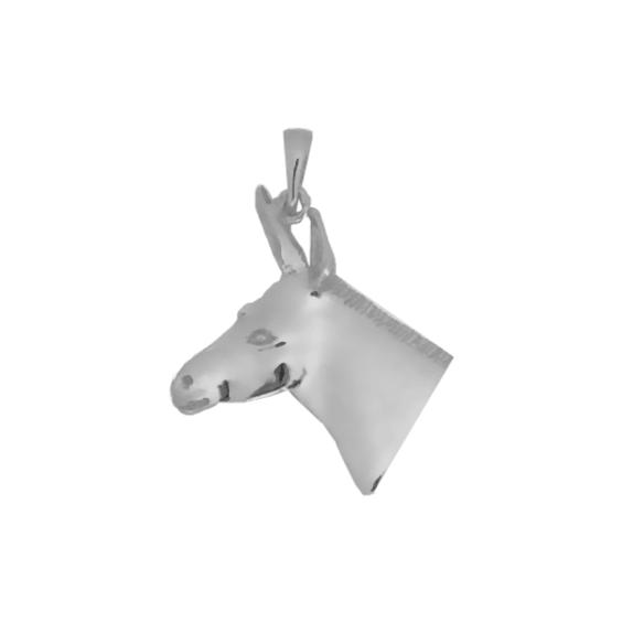 Pendentif tête d'âne Or 18 carats gris - 34 MM - La Petite Française