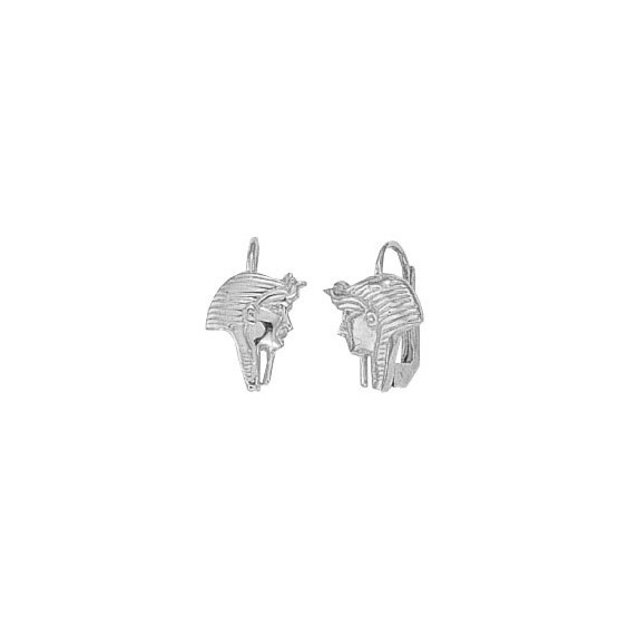 Boucles d'oreilles brisures masque pharaon Or 18 carats gris - La Petite Française