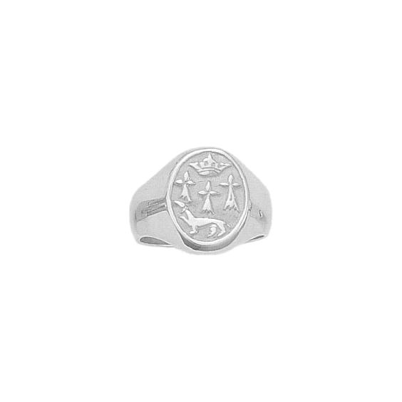Chevalière hermine Or 18 carats gris - 13 X 15 MM - La Petite Française