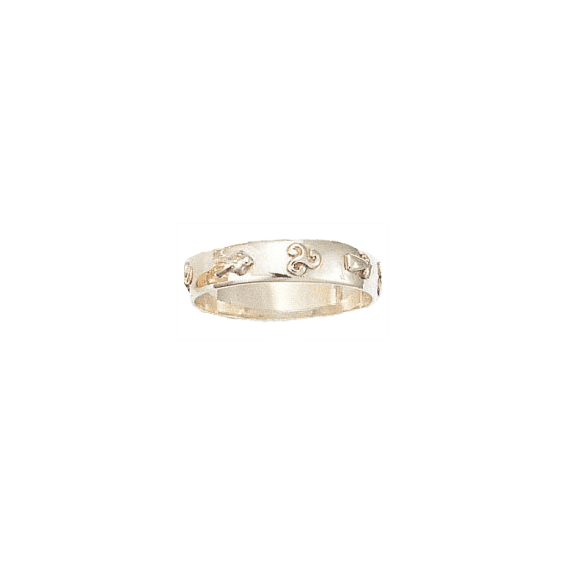Anneau hermine et triskel Or 18 carats gris - 5 MM - La Petite Française