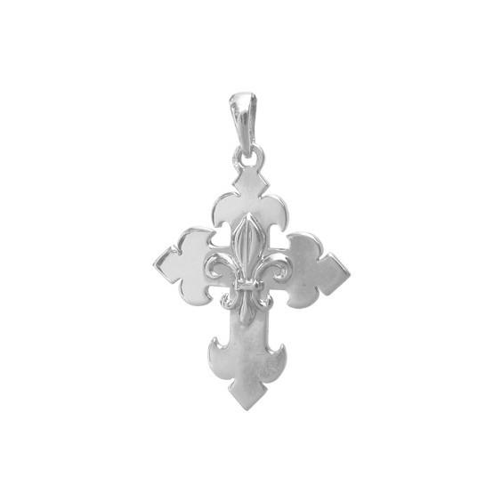 Croix fleur de Lys Or 18 carats gris - 29 MM - La Petite Française