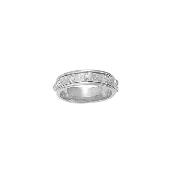 Anneau dizainier tournant Or 18 carats gris - 6 MM - La Petite Française