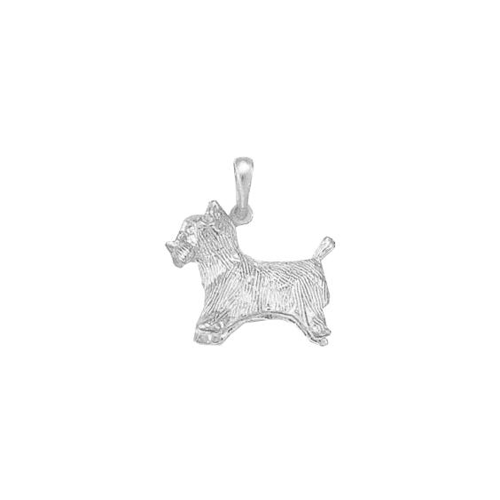 Pendentif chien Yorkshire Or 18 carats gris - 25 MM - La Petite Française