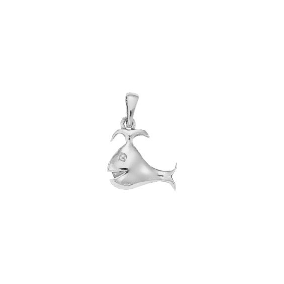 Pendentif baleine Or 18 carats gris - 22 MM - La Petite Française