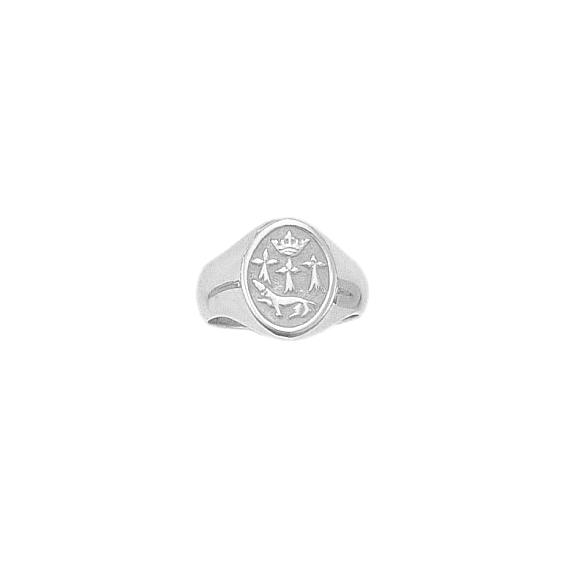 Chevalière hermine Or 18 carats gris - 19 X 11 MM - La Petite Française
