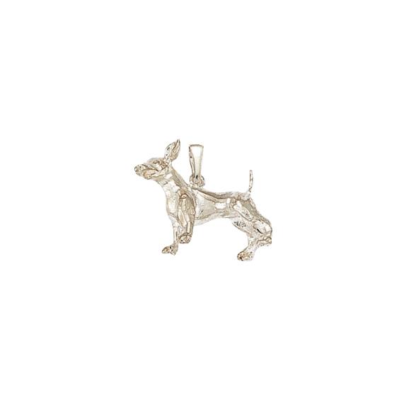 Pendentif chien Chihuahua Or 18 carats gris - 20 MM - La Petite Française