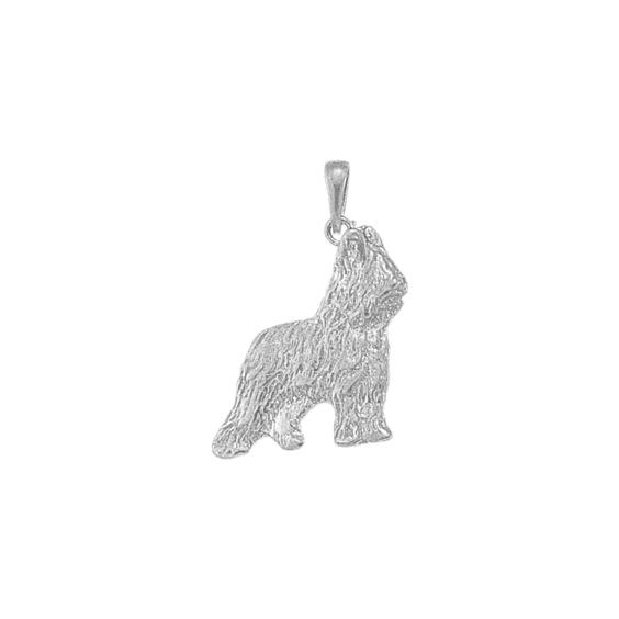 Pendentif chien Briard Or 18 carats gris - 31 MM - La Petite Française