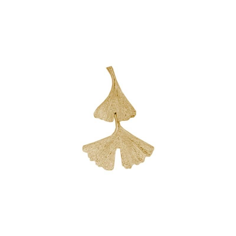 Pendentif Ginkgo biloba 2 feuilles Or 18 carats jaune - La Petite Française