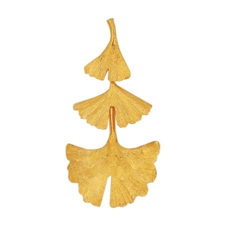 Pendentif Ginkgo biloba 3 feuilles Or 18 carats jaune - La Petite Française