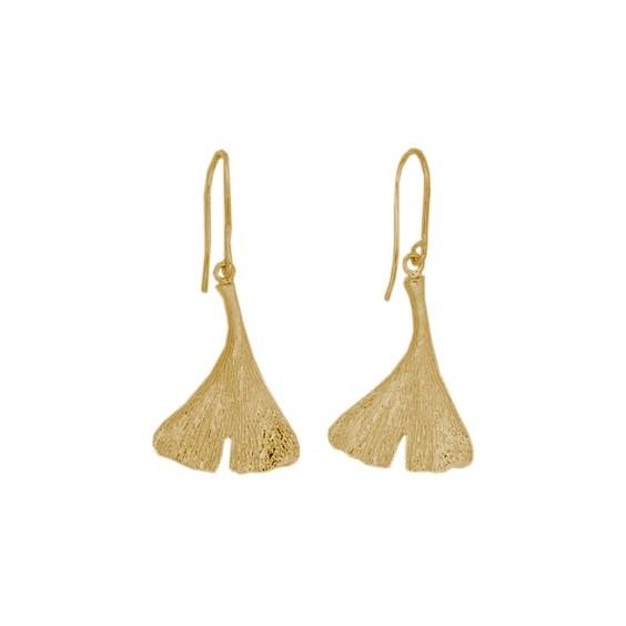 Boucles d'oreilles pendantes Ginkgo biloba Or 18 carats jaune - La Petite Française
