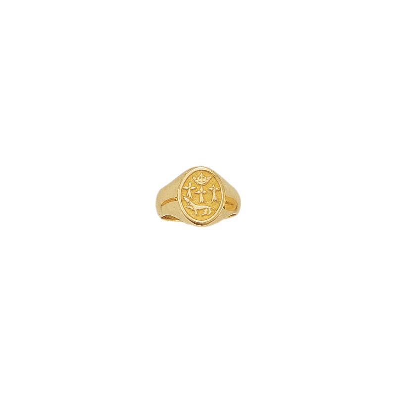 Chevalière hermine Or 18 carats jaune - 19 X 11 MM - La Petite Française