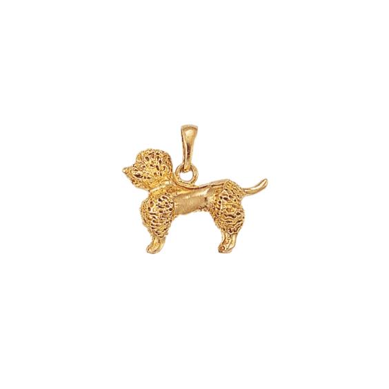 Pendentif chien Caniche Or 18 carats jaune - 21 MM - La Petite Française