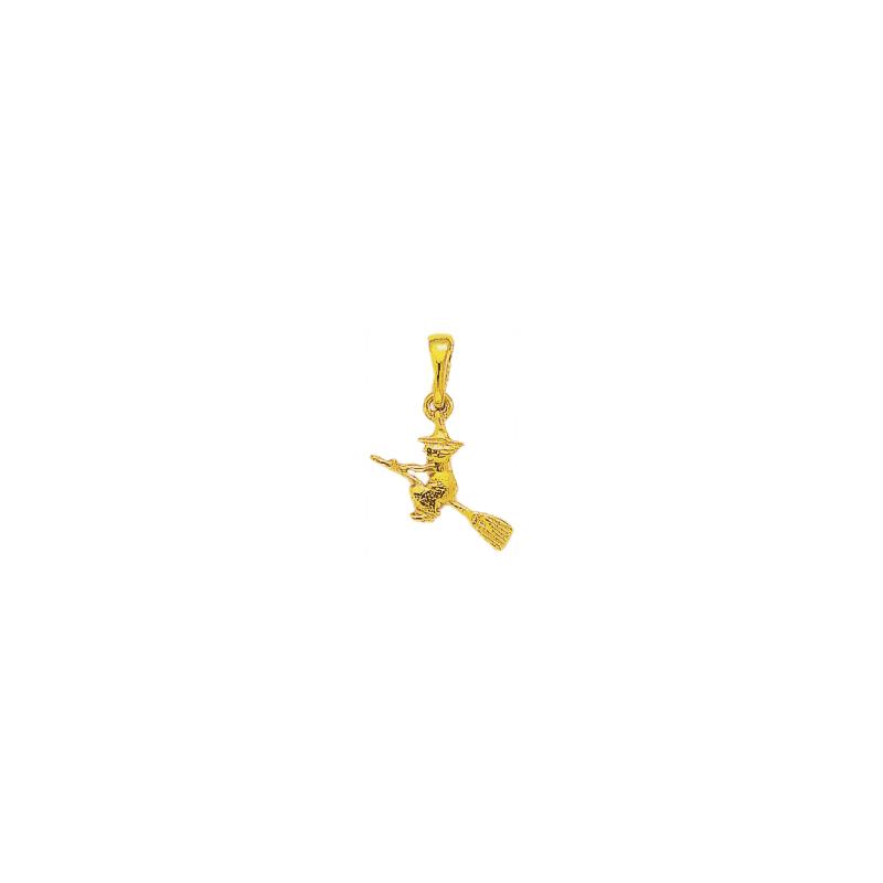 Pendentif sorcière sur son balai PM Or 18 carats  jaune - La Petite Française