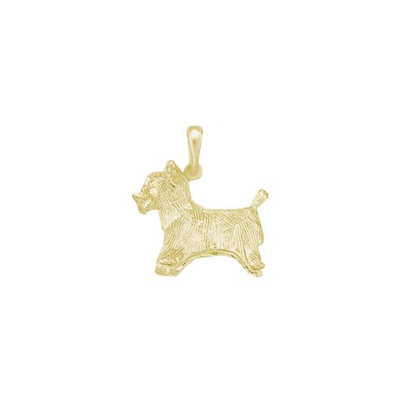 Pendentif chien Yorkshire Or 18 carats jaune - 25 MM - La Petite Française