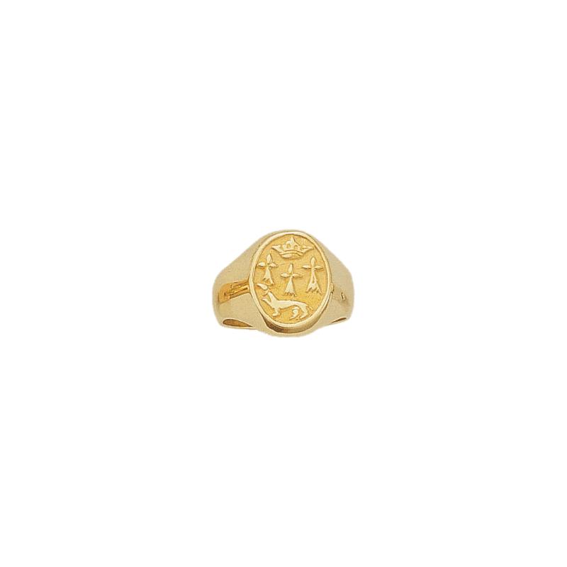 Chevalière hermine Or 18 carats jaune - 13 X 15 MM - La Petite Française
