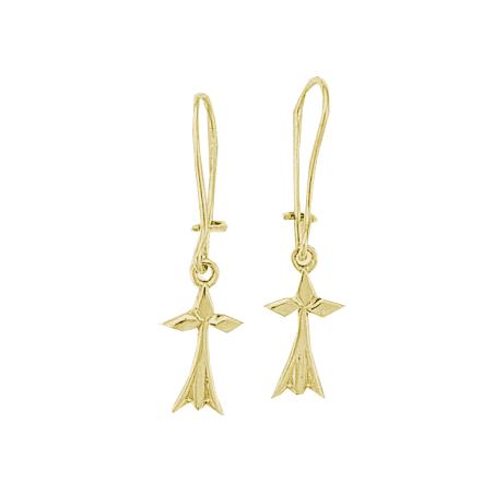 Boucles d'oreilles pendantes hermine Or 18 carats jaune - La Petite Française