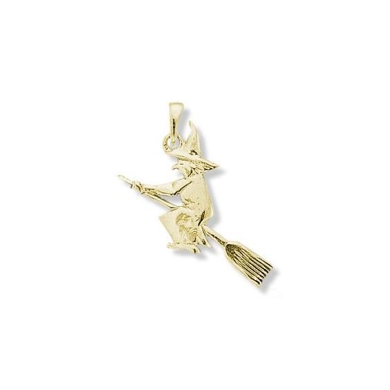 Pendentif sorcière sur son balai GM Or 18 carats jaune - La Petite Française