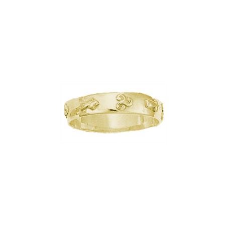 Anneau hermine et triskel Or 18 carats jaune - 5 MM - La Petite Française