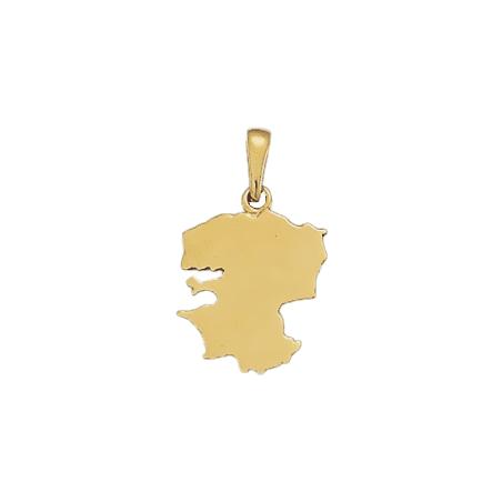 Pendentif carte Finistère Or 18 carats jaune - 26 MM - La Petite Française