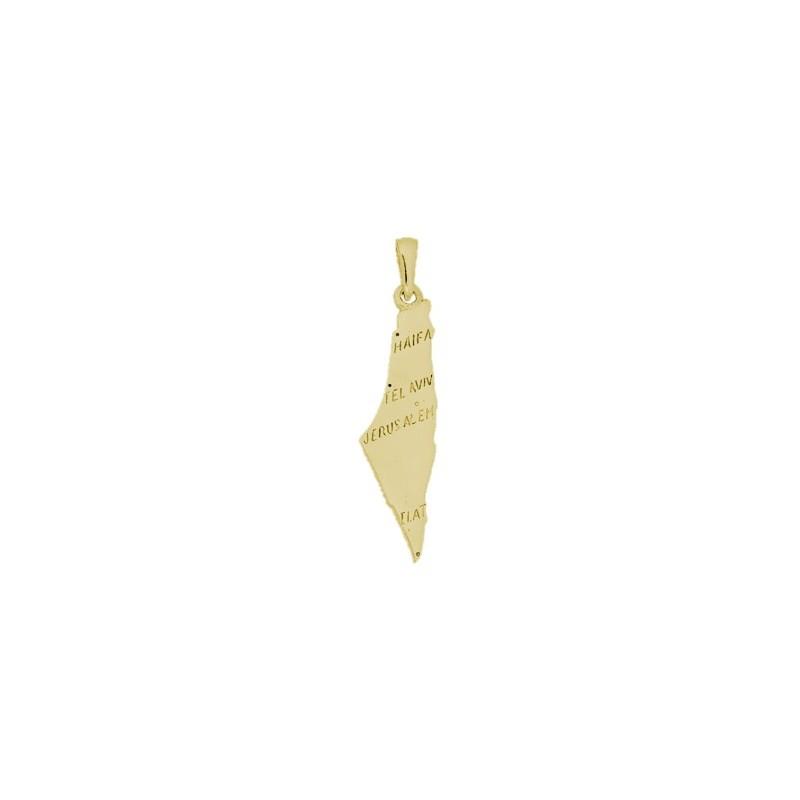 Pendentif Israel carte Or 18 carats jaune - La Petite Française