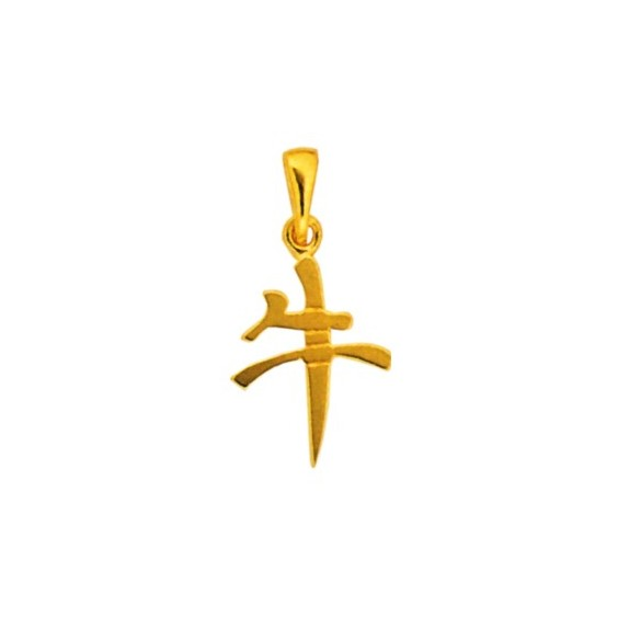 Pendentif signe Chinois Buffle Or 18 carats jaune