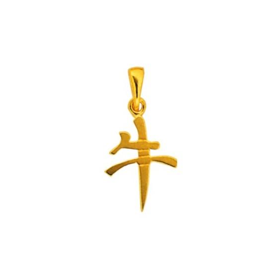Pendentif signe Chinois Buffle Or 18 carats jaune - La Petite Française