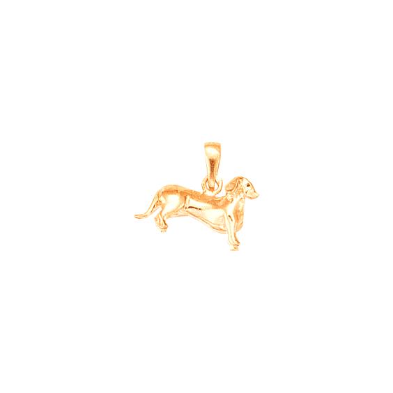 Pendentif chien Teckel Or 18 carats rose - 18 MM - La Petite Française