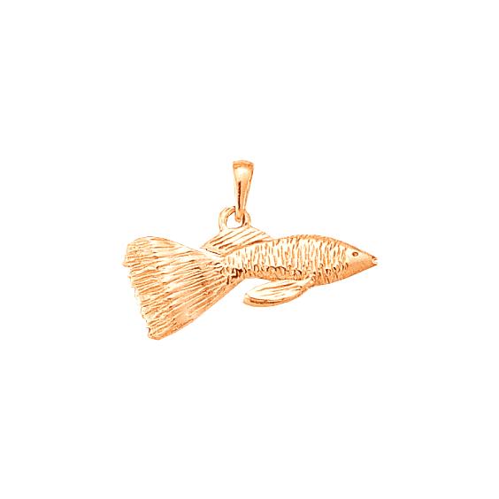 Pendentif poisson Guppy Or 18 carats rose - La Petite Française