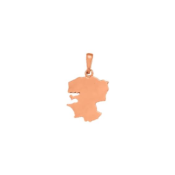 Pendentif carte Finistère Or 18 carats rose - 26 MM - La Petite Française