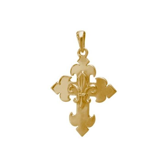 Croix fleur de Lys Or 14 carats jaune - 29 MM - La Petite Française
