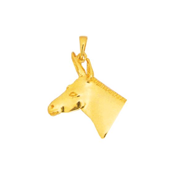 Pendentif tête d'âne Or 14 carats jaune - 34 MM - La Petite Française