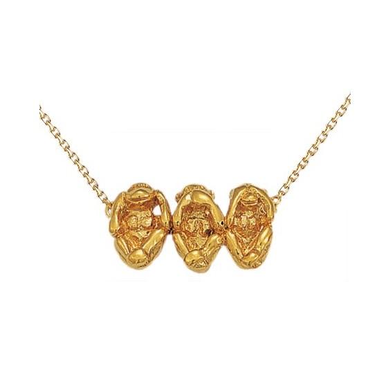 Collier singes de la sagesse Or 14 carats jaune - La Petite Française