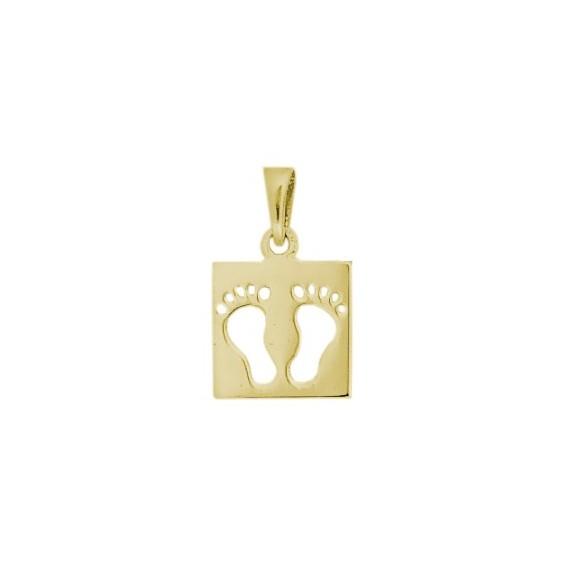 Pendentif carré pieds Or 14 carats jaune - La Petite Française