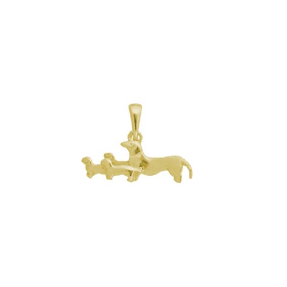 Pendentif 4 chiens Teckels Or 14 carats jaune - 18 MM - La Petite Française