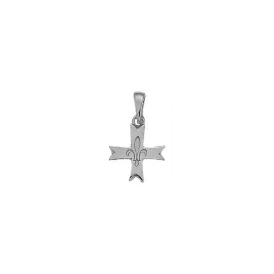 Croix fleur de Lys Or 14 carats gris - 13 MM - La Petite Française