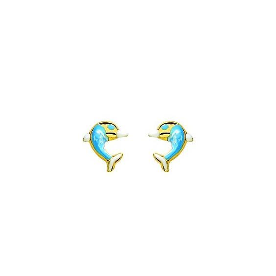 Boucles d'oreilles dauphins bleus Or 18 carats jaune - La Petite Française