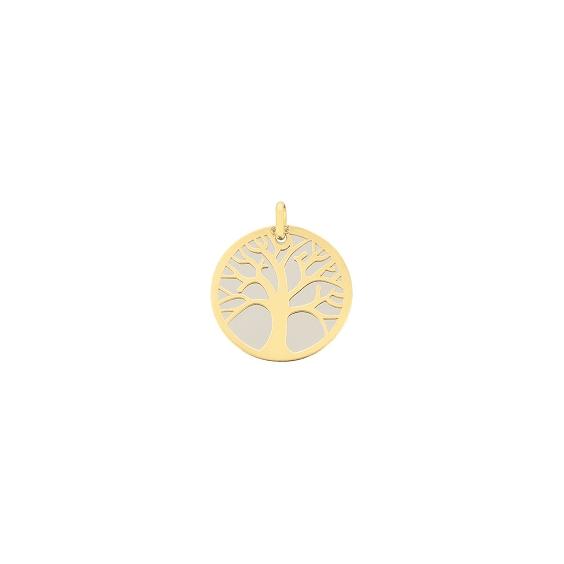 Médaille arbre de vie Or 18 carats jaune et acier - 16 MM - La Petite Française