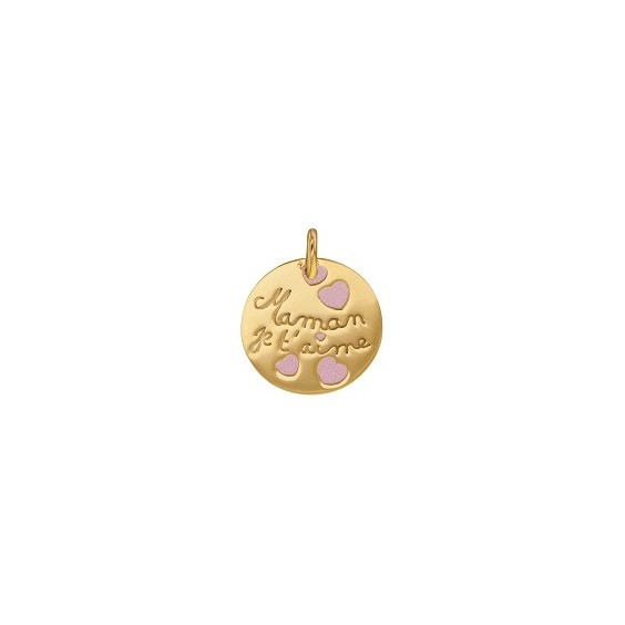 Médaille Maman je t'aime rose Or 9 carats jaune - La Petite Française