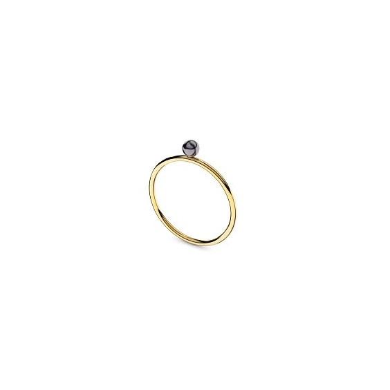 Bague Romy perle noire Or 18 carats jaune - 4 MM - La Petite Française