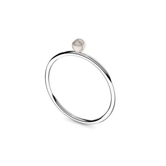 Bague Romy perle blanche Or 18 carats gris - 4 MM - La Petite Française