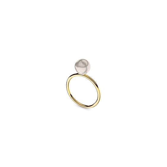 Bague Romy perle blanche Or 18 carats jaune - 7 MM - La Petite Française