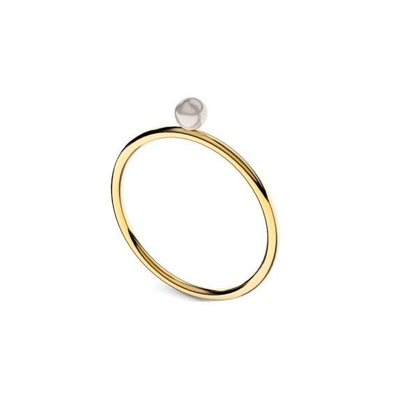 Bague Romy perle blanche Or 18 carats jaune - 4 MM - La Petite Française