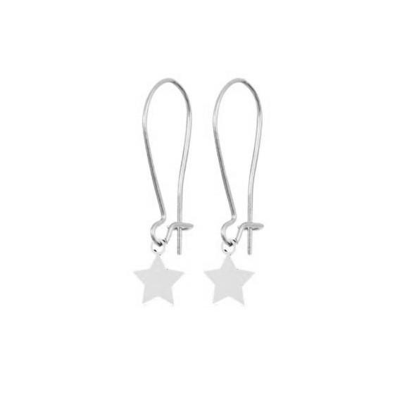 Boucles d'oreilles Clara étoile Or 18 carats gris - La Petite Française