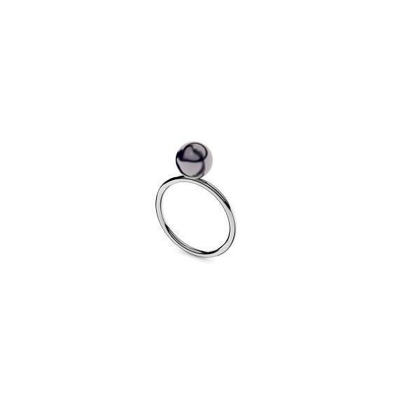 Bague Romy perle noire Or 18 carats gris - 7 MM - La Petite Française