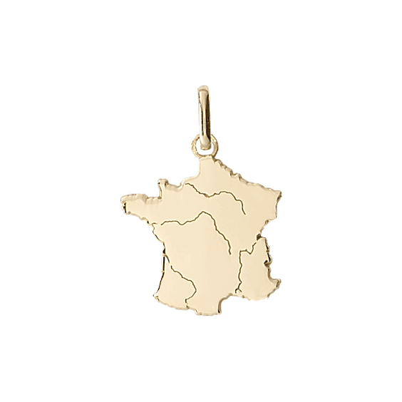 Pendentif carte de France Or 18 carats jaune