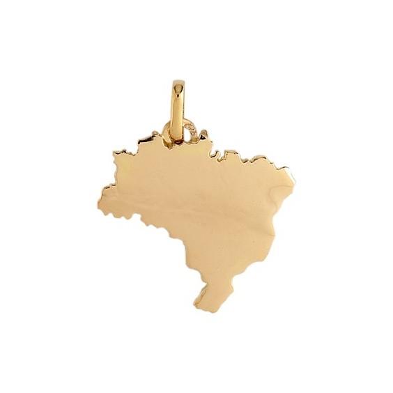 Pendentif carte Brésil Or 18 carats jaune - La Petite Française