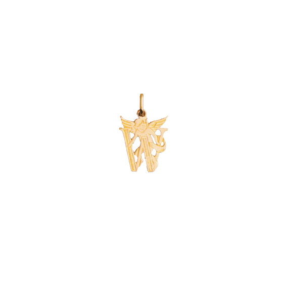Pendentif ange lettre W Or 18 carats jaune - La Petite Française